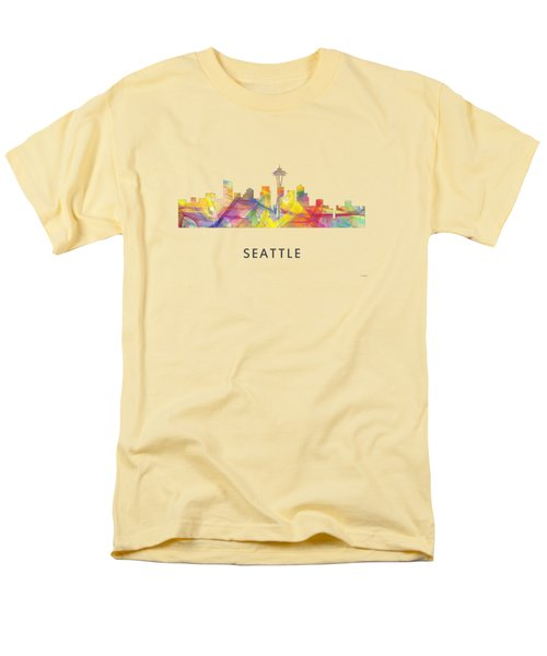 Seattle Washington Skyline Men's T-Shirt  (Regular Fit) by Marlene Watson