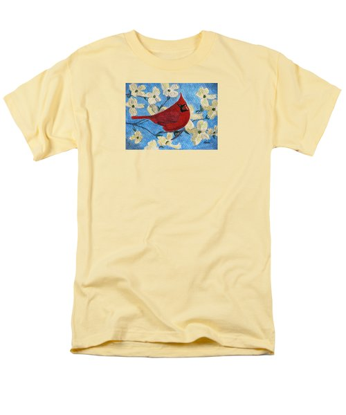 Men's T-Shirt  (Regular Fit) featuring the painting A Cardinal Spring by Angela Davies