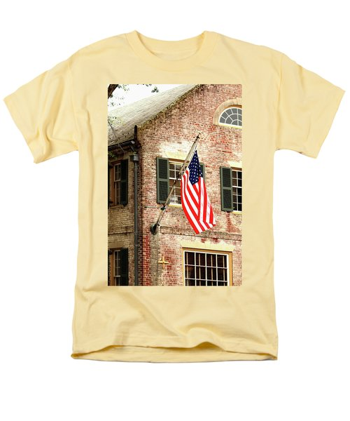 Men's T-Shirt  (Regular Fit) featuring the photograph American Flag In Colonial Williamsburg by Emanuel Tanjala