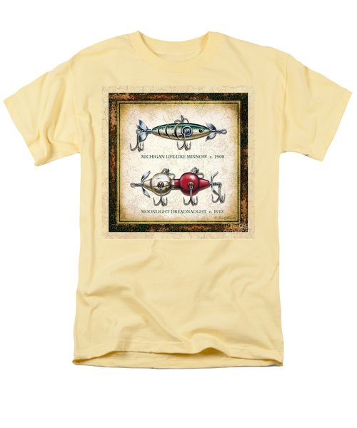 Men's T-Shirt  (Regular Fit) featuring the painting Antique Lure Panel Two by JQ Licensing Jon Q Wright