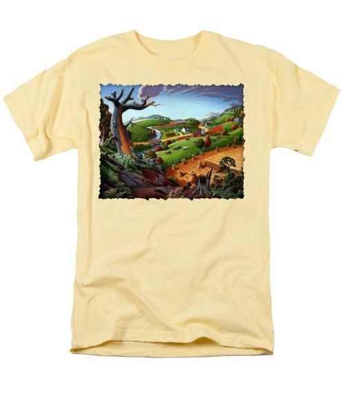 Appalachian Fall Thanksgiving Wheat Field Harvest Farm Landscape Painting - Rural Americana - Autumn Men's T-Shirt  (Regular Fit)