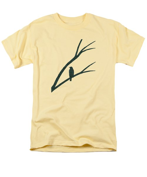 Men's T-Shirt  (Regular Fit) featuring the mixed media Green Bird Silhouette Plaid Bird Art by Christina Rollo