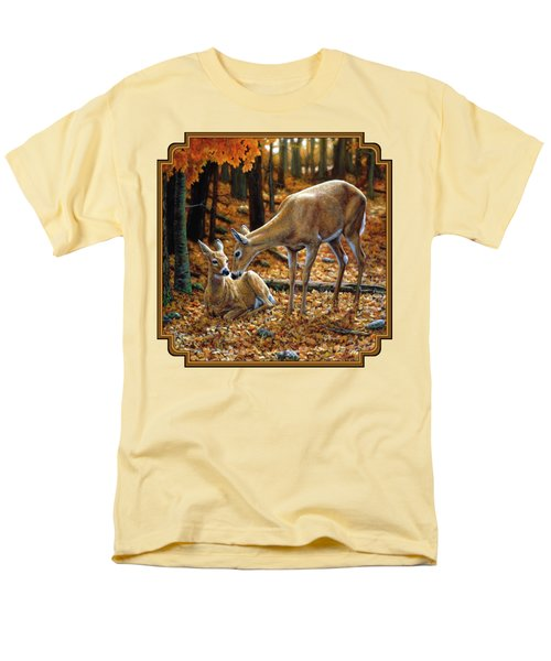 Whitetail Deer - Autumn Innocence 2 Men's T-Shirt  (Regular Fit) by Crista Forest