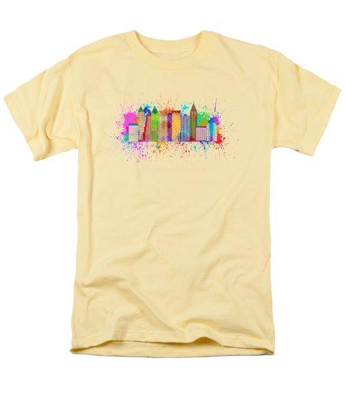 Atlanta Skyline Paint Splatter Illustration Men's T-Shirt  (Regular Fit) by Jit Lim