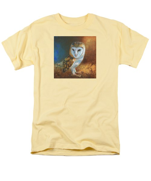 Men's T-Shirt  (Regular Fit) featuring the painting Barn Owl Blue by Terry Webb Harshman