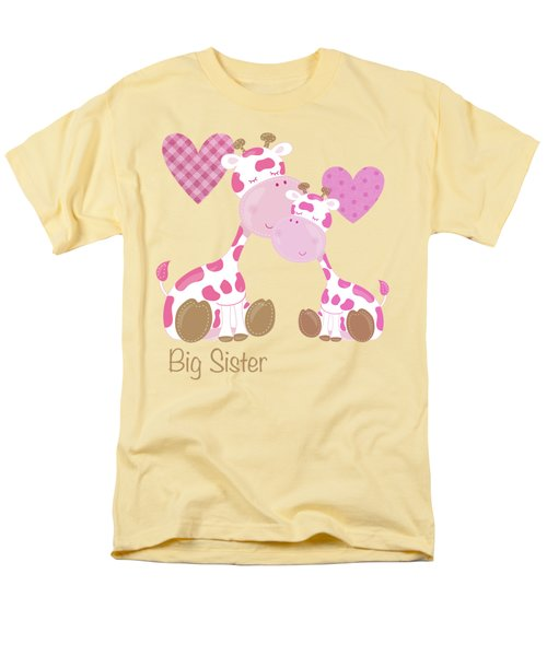 Big Sister Cute Baby Giraffes And Hearts Men's T-Shirt  (Regular Fit) by Tina Lavoie