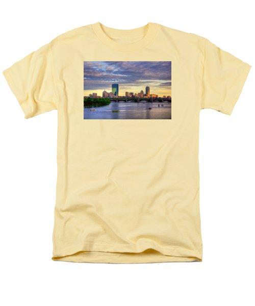 Boston Skyline Sunset Over Back Bay Men's T-Shirt  (Regular Fit)