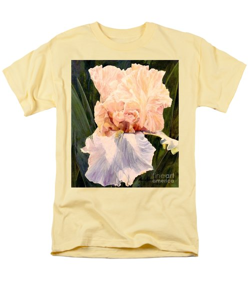 Botanical Peach Iris Men's T-Shirt  (Regular Fit) by Laurie Rohner