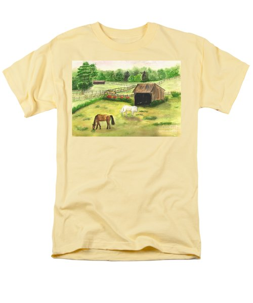 Men's T-Shirt  (Regular Fit) featuring the painting Bucks County Horse Farm by Lucia Grilletto