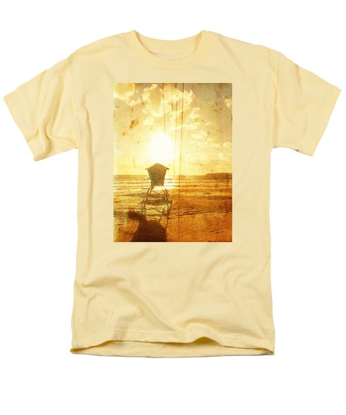 Men's T-Shirt  (Regular Fit) featuring the digital art Californian Lifeguard Cabin by Andrea Barbieri