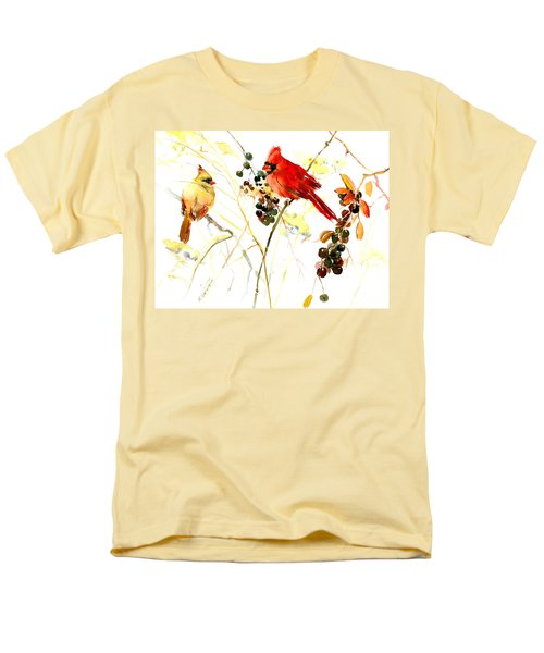 Cardinal Birds And Berries Men's T-Shirt  (Regular Fit) by Suren Nersisyan