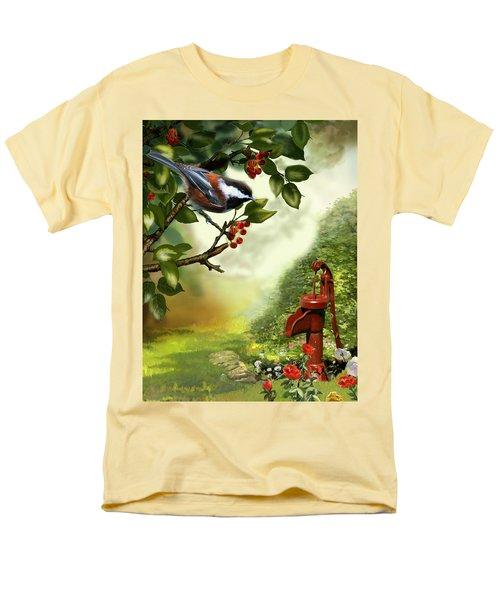 Chickadee Visiting The Water Pump Men's T-Shirt  (Regular Fit) by Regina Femrite