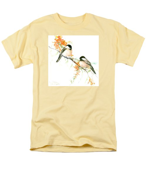 Chickadees And Orange Flowers Men's T-Shirt  (Regular Fit) by Suren Nersisyan
