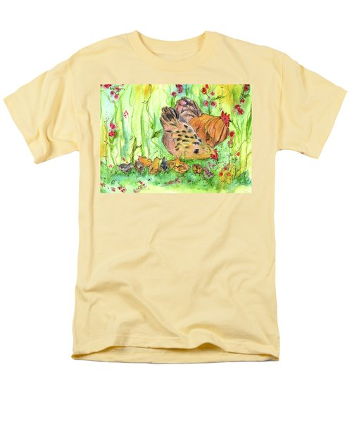 Men's T-Shirt  (Regular Fit) featuring the painting Chicken Family by Cathie Richardson