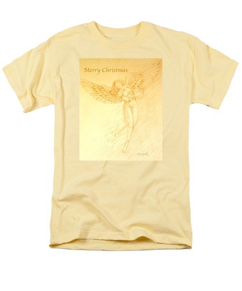 Christmas Angel With Harp Men's T-Shirt  (Regular Fit) by Deborah Dendler