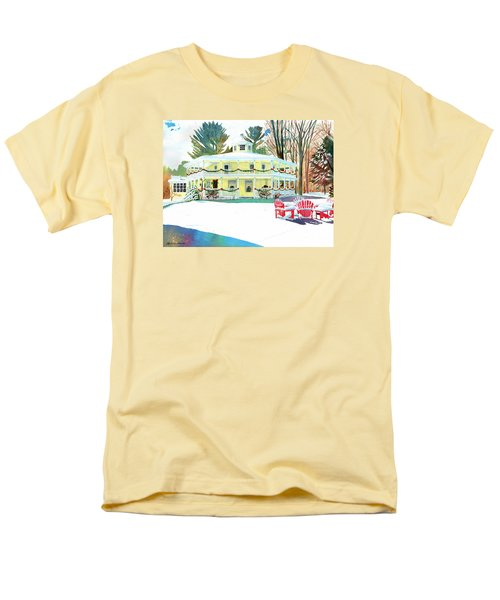 Men's T-Shirt  (Regular Fit) featuring the painting Christmas At The Hexagon House by LeAnne Sowa