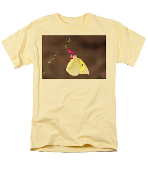 Clouded Sulphur Butterfly On Pink Wildflower Men's T-Shirt  (Regular Fit) by Sheila Brown