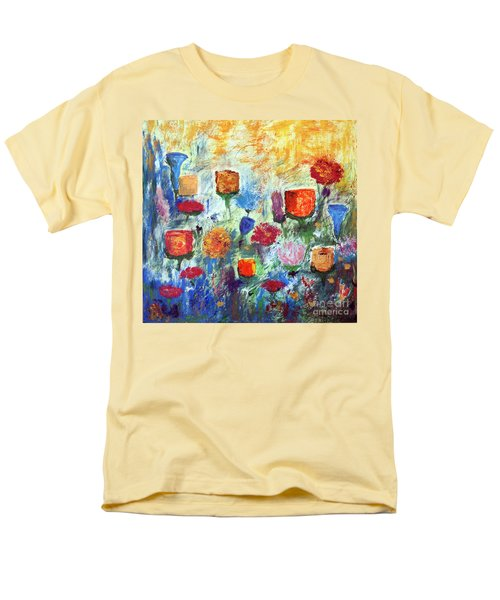 Men's T-Shirt  (Regular Fit) featuring the painting Colorful Garden by Haleh Mahbod