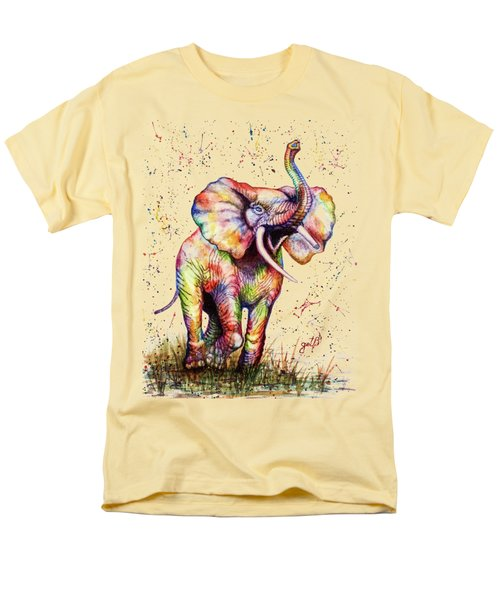 Men's T-Shirt  (Regular Fit) featuring the painting Colorful Watercolor Elephant by Georgeta Blanaru