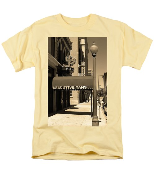Men's T-Shirt  (Regular Fit) featuring the photograph Denver Downtown Storefront Sepia by Frank Romeo
