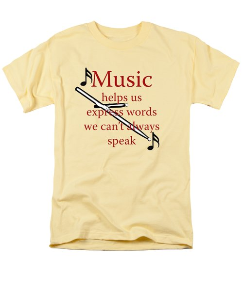 Drum Music Helps Us Express Words Men's T-Shirt  (Regular Fit) by M K  Miller