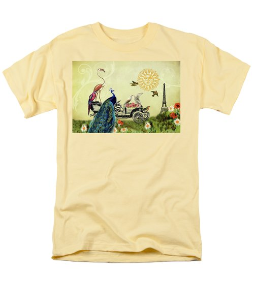 Feathered Friends In Paris, France Men's T-Shirt  (Regular Fit) by Peggy Collins