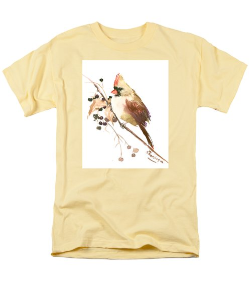 Female Cardinal Bird Men's T-Shirt  (Regular Fit) by Suren Nersisyan
