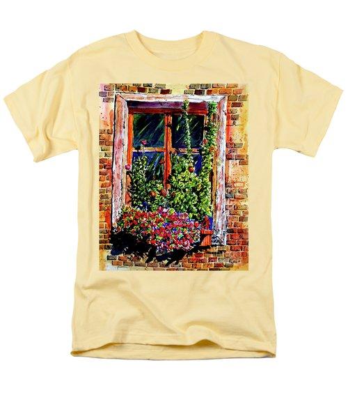 Men's T-Shirt  (Regular Fit) featuring the painting Flower Window by Terry Banderas