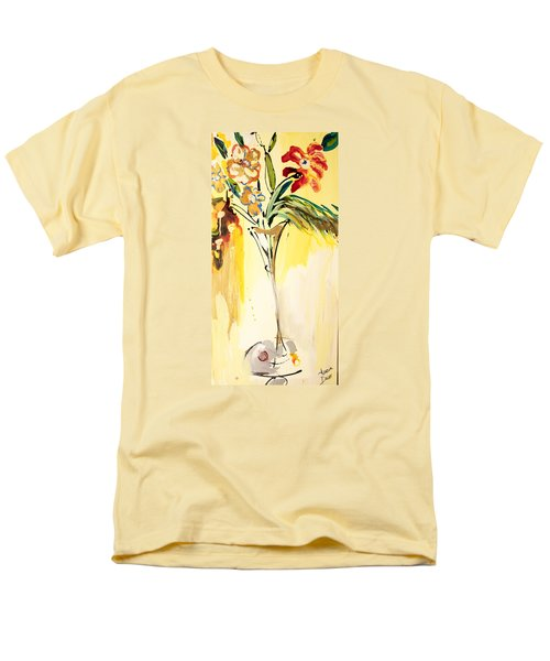 Flowers Flowing In Yellow Men's T-Shirt  (Regular Fit) by Amara Dacer