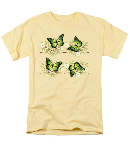 Four Green Butterflies Men's T-Shirt  (Regular Fit) by Gaspar Avila