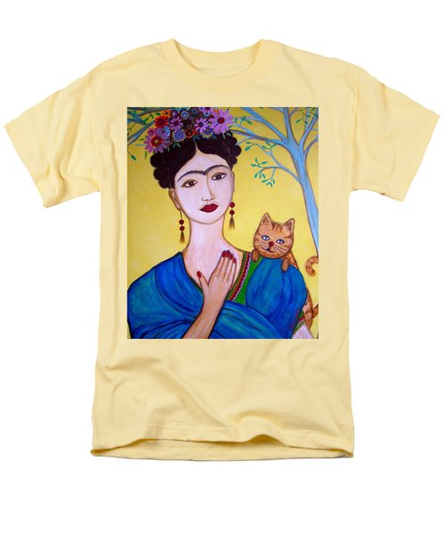 Men's T-Shirt  (Regular Fit) featuring the painting Frida And Her Cat by Pristine Cartera Turkus
