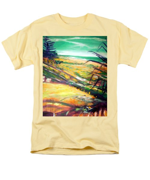 Men's T-Shirt  (Regular Fit) featuring the painting From The Lawn Pandanus by Winsome Gunning
