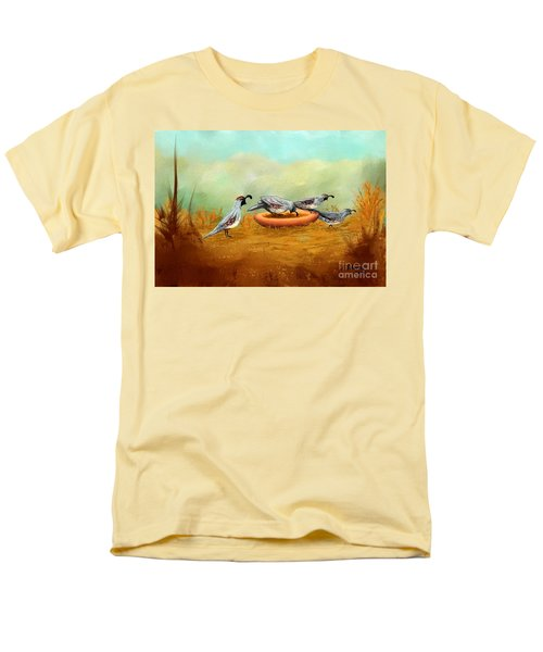 Men's T-Shirt  (Regular Fit) featuring the painting Gambel's Quail On Parade by Judy Filarecki