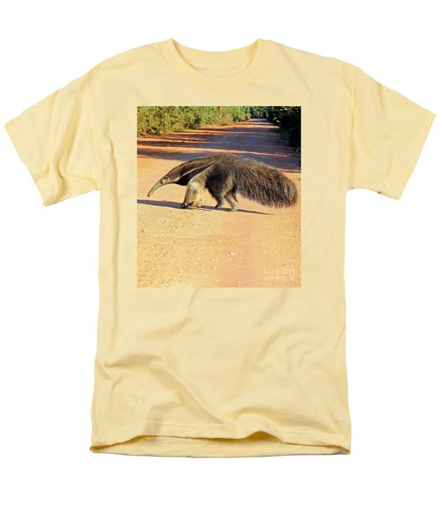 Giant Anteater Crosses The Transpantaneira Highway In Brazil Men's T-Shirt  (Regular Fit) by Nareeta Martin
