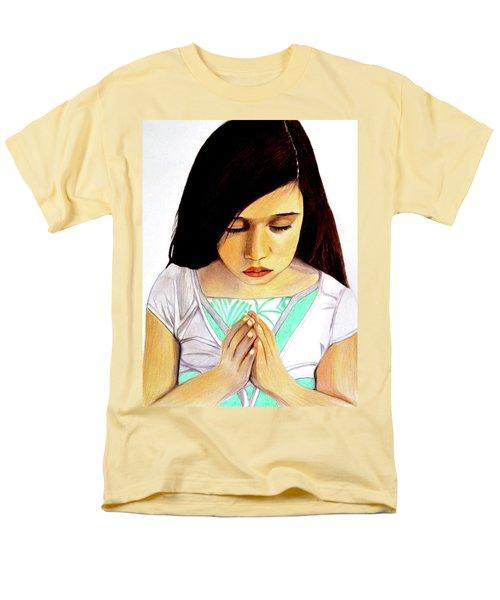 Girl Praying Drawing Portrait By Saribelle Men's T-Shirt  (Regular Fit) by Saribelle Rodriguez