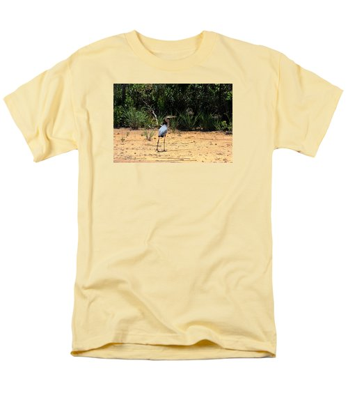 Men's T-Shirt  (Regular Fit) featuring the photograph Great Blue Heron On Beach by Sheila Brown