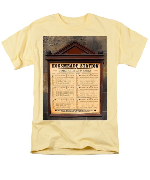 Men's T-Shirt  (Regular Fit) featuring the photograph Hogsmeade Station Timetable by Juergen Weiss