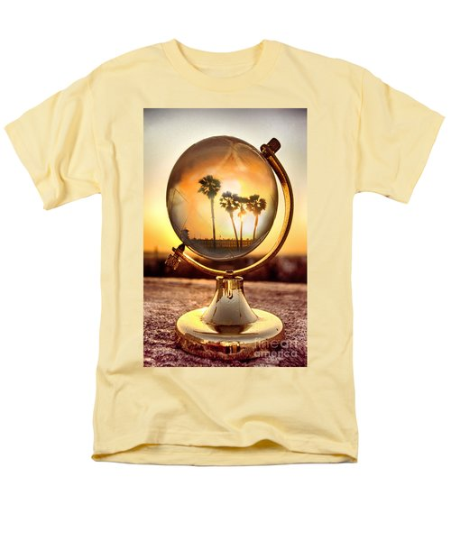 Huntington Beach Globe Men's T-Shirt  (Regular Fit) by Natalie Ortiz