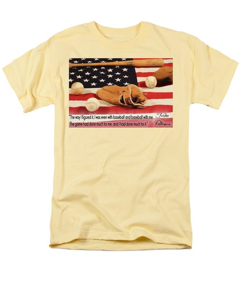Jackie Robinson Baseball Quote Men's T-Shirt  (Regular Fit) by Dan Sproul