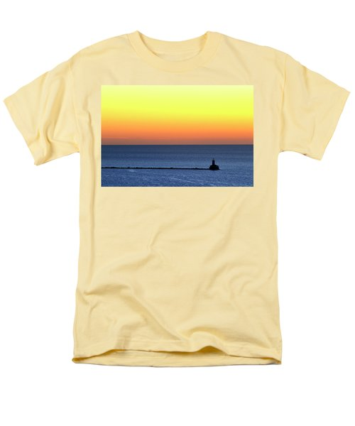 Lighthouse At Sunrise On Lake Michigan Men's T-Shirt  (Regular Fit) by Zawhaus Photography
