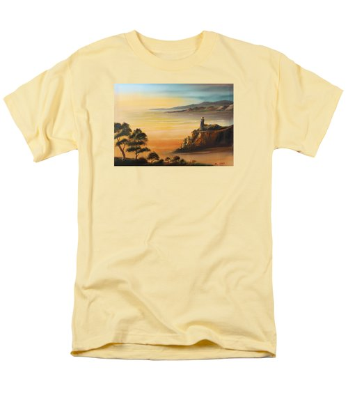 Lighthouse At Sunset Men's T-Shirt  (Regular Fit) by Remegio Onia