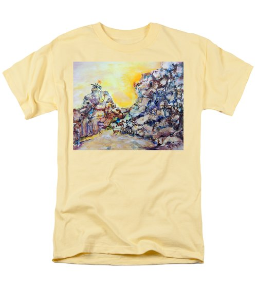 Men's T-Shirt  (Regular Fit) featuring the painting Lonely Flower by Mary Schiros