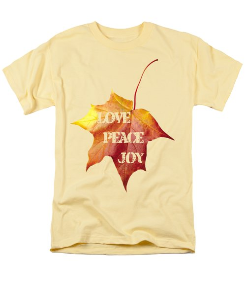 Love Peace Joy Carved On Fall Leaf Men's T-Shirt  (Regular Fit) by Georgeta Blanaru
