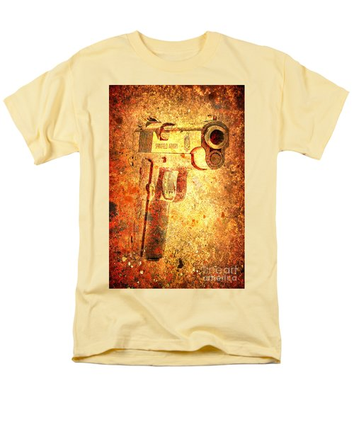 M1911 Muzzle On Rusted Background 3/4 View Men's T-Shirt  (Regular Fit) by M L C