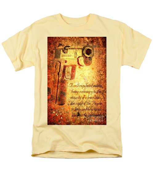 M1911 Pistol And Second Amendment On Rusted Overlay Men's T-Shirt  (Regular Fit) by M L C