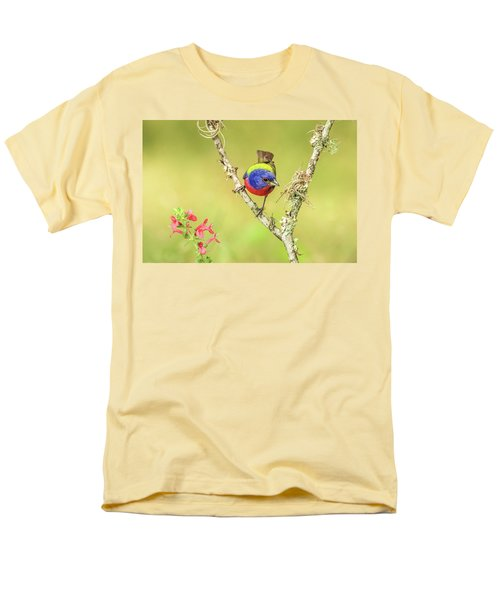 Male Painted Bunting #2 Men's T-Shirt  (Regular Fit) by Tom and Pat Cory