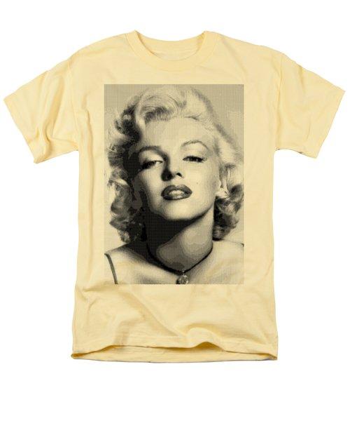 Marilyn Monroe - Bw Hexagons Men's T-Shirt  (Regular Fit) by Samuel Majcen