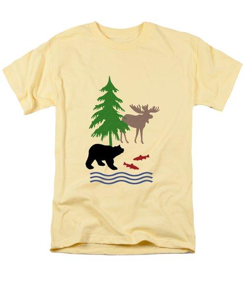 Moose And Bear Pattern Men's T-Shirt  (Regular Fit)