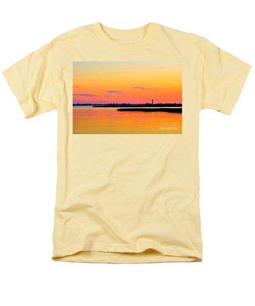 Men's T-Shirt  (Regular Fit) featuring the photograph Oak Island Lighthouse Sunset by Shelia Kempf