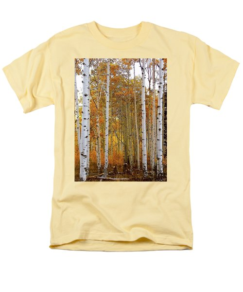 Men's T-Shirt  (Regular Fit) featuring the photograph October Aspen Grove  by Deborah Moen